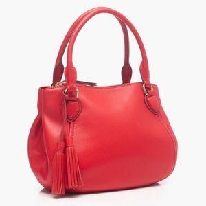 Jcrew red leather satchel